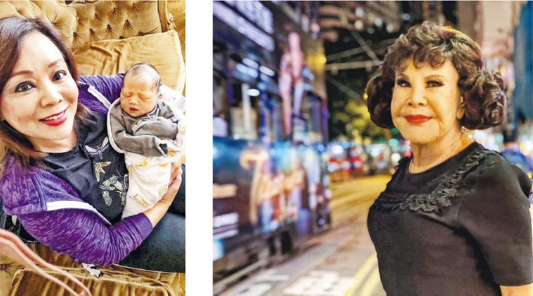 黃夏蕙(右圖)上載女兒Maggie抱着外孫女(左圖)的照片,報喜再做太婆。(網上圖片)