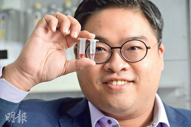 相達生物科技創辦人招彥燾表示,公司提取試劑分兩個不同液相,將病毒的RNA和其他物質分離,大幅度純化和濃縮,提高檢測成功率。(劉焌陶攝)