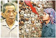 前赤柬政權監獄長康克由(左圖)周三病逝,終年77歲。他管理的「S-21」監獄在戰後被改作博物館,由骷髏頭堆砌的人骨牆悚目驚心(右圖)。(資料圖片、法新社)