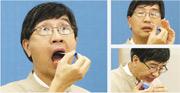 香港大學微生物學系講座教授袁國勇昨日親自示範自行採樣,包括咽喉拭子(上左圖)、鼻咽拭子(右上圖)及深喉唾液(右下圖)。他採樣手勢純熟,當拭子棒伸進鼻咽時也面不改容,採咽喉拭子時甚至能同時說話。不過,示範後他說採鼻咽拭子時很想打噴嚏,「但我忍住,忍得好緊要」。(曾憲宗攝)
