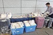 警方在行動中檢獲約15.4公斤懷疑可卡因及1.4公斤懷疑冰毒,市值約2580萬元。(衛永康攝)
