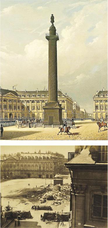 芳登廣場柱(上)由拿破崙下令建造,巴黎公社時期被視為帝國的象徵而被推倒(下)。(網上圖片)