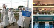 新冠病毒疫情在緬甸轉熾,成為亞洲目前第四大的疫情爆發國家。該國自3月23日錄得首兩宗確診,迄8月16日累計僅374宗個案及6人死亡,但之後個案卻飈至超過2.9萬宗、逾640人病逝。該國周一單日新增個案1344宗。重災的大城市仰光從9月21日起,全體市民被勒令不得踏出家門,所有機構企業員工須盡可能在家工作。圖中在仰光醫療設施的受檢疫人士,則要靠穿戴全副裝備的義工協助「吊送」糧食。(法新社)