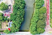 牛潭尾休息處(箭嘴示)設有10個單車架及5張長椅,入口與單車徑(圖右方)之間距離約有80米,中間相隔牛潭尾水道,而且河岸兩邊樹木生長茂盛,即使有指示牌或亦難以察覺。(馮凱鍵攝)