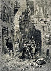 莎士比亞時期的倫敦大瘟疫,遍地屍骸。圖為插畫名家 Herbert Railton 作品。