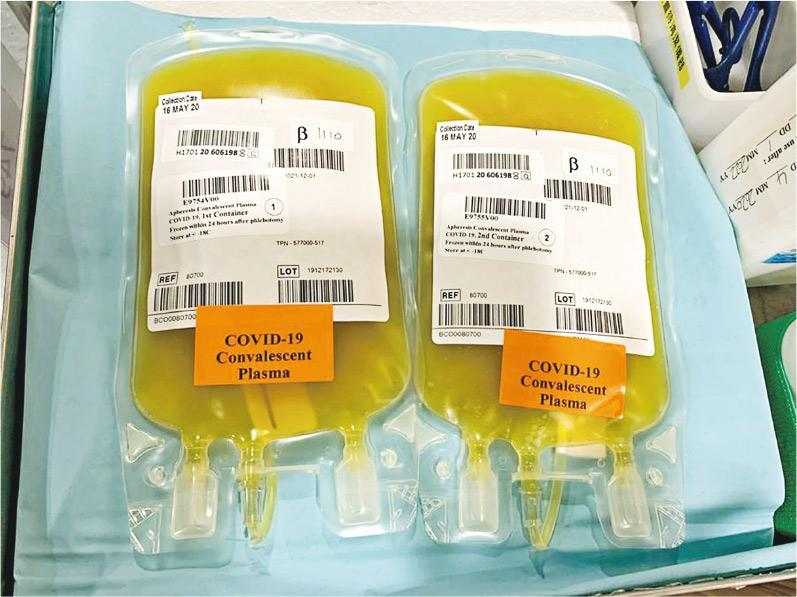 抗體水平足夠和符合指定條件的新型冠狀病毒康復者,可捐出血漿救助其他重症患者,本港至今已有50名康復者捐出恢復血漿。(瑪麗醫院提供)