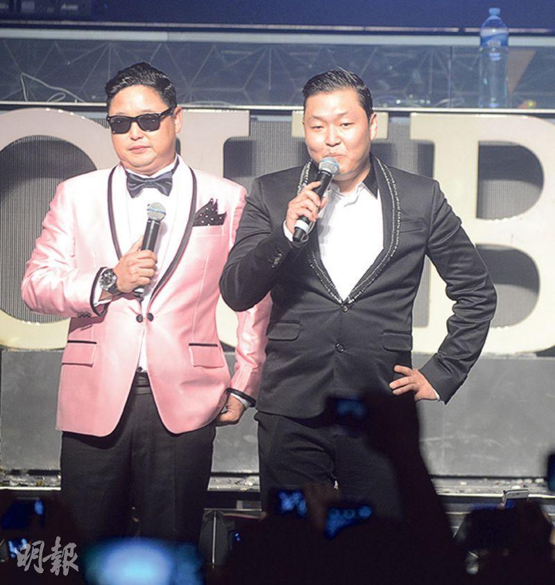 錢國偉(左)跟《江南Style》的「馬舞大叔」Psy撞樣,兩人曾於澳門同台亮相。(資料圖片)