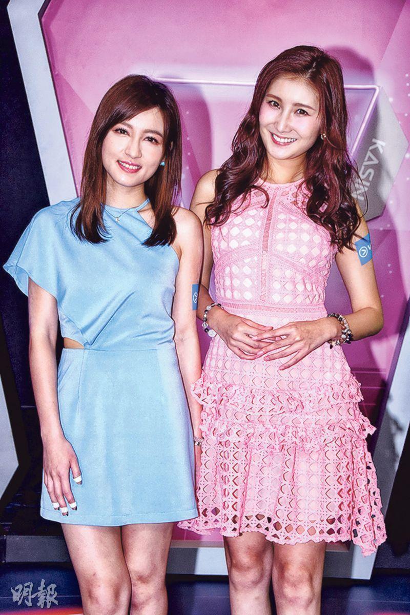 陳嘉倩(左)與沈殷怡昨出席ViuTV新直播節目《娛樂ON AIR》記者會。(攝影:鍾偉茵)