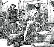 羅密歐誤殺茱麗葉表哥,英國插畫家 Gordon Frederick Browne 作品。