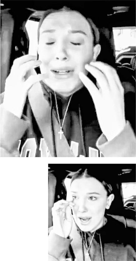 美莉布朗上載黑白短片,邊哭邊憶述她遭粉絲強行拍攝的不快事情,相當激動。