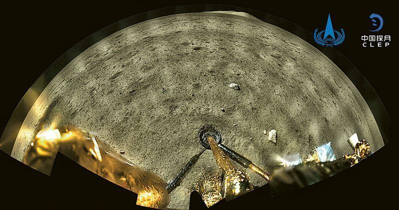嫦娥五號探測器昨成功着陸月球,並傳回着陸影像圖。圖為其在月球全景環拍相片。(中新社)