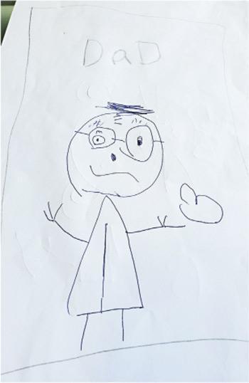阿布泰國生活百貨創辦人林景楠fb上載囡囡畫嘅話,圖說係「I love you Daddy」,為爸爸打氣。(林景楠fb)