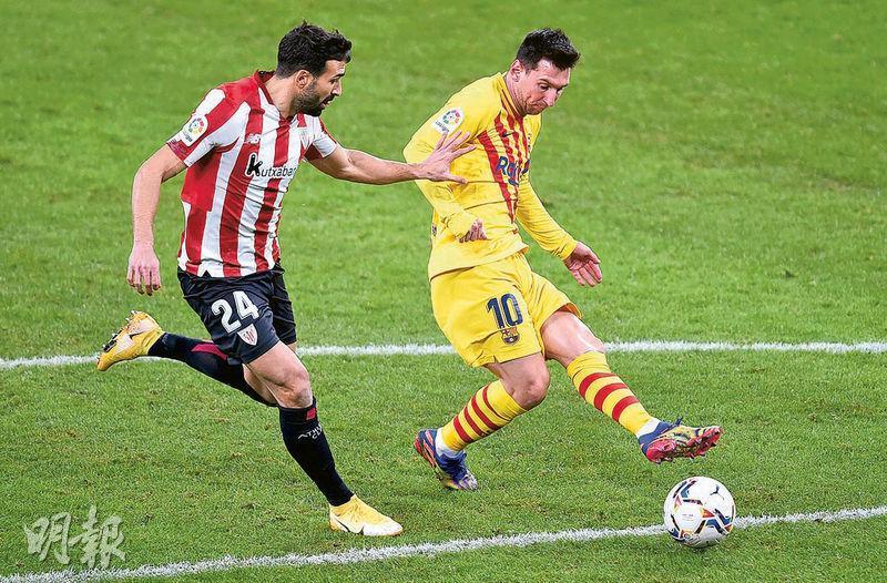 巴塞隆拿球星美斯(右)梅開二度後,暫與馬德里體育會前鋒蘇亞雷斯等3名球員,以9個入球領前射手榜。(Getty Images)