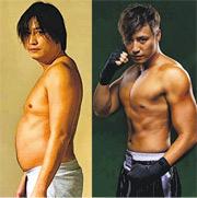 張建聲之前演拳手操到好弗(右圖),最近為另一部戲極速增肥,一個月內已食到有大肚腩(左圖)。