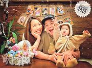 林子善(中)於2017年娶圈外女友董佩欣(左),現育有一歲大女兒林以晴。(網上圖片)