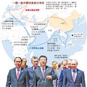 2017年5月15日,首屆一帶一路國際合作高峰論壇在北京雁棲湖國際會議中心舉行圓桌峰會。第一階段會議結束後,國家主席習近平(中)同與會國家領導人和國際組織負責人,包括俄羅斯總統普京(右)、時任越南國家主席陳大光(左)步出雁棲湖國際會議中心。(資料圖片)