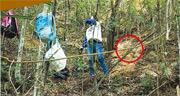 有行山客在facebook發文,說行山時目睹有人掘樹根。圖中可見女子背後山坡被挖出一個小坑(紅圈示)。