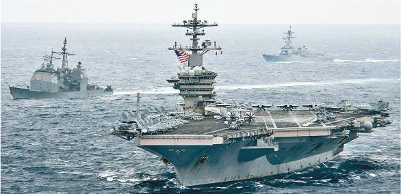 美國海軍羅斯福號航母上周六上午10時許,經巴士海峽進入南海。這是拜登政府上台後美航母首次進入南海。(網上圖片)