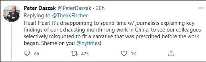 針對《紐時》引述世衛專家稱中方拒絕分享涉及新冠病毒原始數據的報道,有世衛專家在Twitter發文解畫,稱有關觀點被斷章取義。圖為接受《紐時》訪問的世衛專家達扎克,於2月13日發文稱對《紐時》感到「失望」,並斥其「可恥」。(網上圖片)