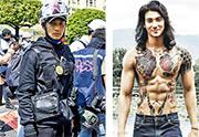 緬甸男模特兒彭德翰(Paing Takhon,音譯)周三穿上全副裝備參與在仰光的示威。右圖為彭德翰日常照片。(法新社、網上圖片)