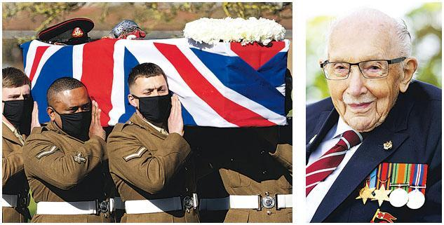 去年為英國國民保健服務(NHS)籌得巨款的百歲老兵穆爾(Tom Moore,右圖)在2月初因感染新冠病毒病逝,喪禮上周六在貝德福德(Bedford)舉行(左圖),有軍人抬着他的棺木。(路透社)