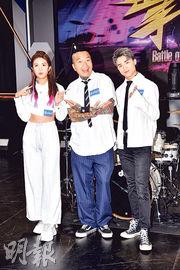 余逸思(左起)、KB與江𤒹生合作主持香港首個打鼓比賽真人騷《擊戰》。(攝影:劉永銳)
