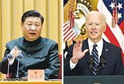 左圖為身兼中央軍委主席的中國國家主席習近平,3月9日在北京向解放軍和武警代表強調當前中國安全形勢不穩。右圖為美國總統拜登3月25日在白宮開記者會,形容中美競爭是「21世紀民主與專制之較量」。(法新社/資料圖片)