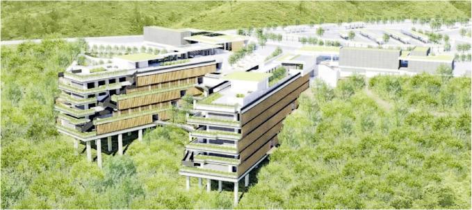 政府表示,沙嶺骨灰安置所採用環保原則設計 ,利用沙嶺的天然地形及環境設計,以植物及樹木作屏障,避免破壞自然景觀。(北區區議會文件)