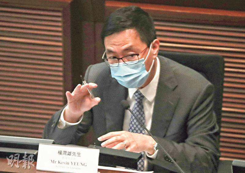 教育局長楊潤雄昨出席立法會教育事務委員會會議,稱局方分析教師違反專業操守的個案時,將同時研究教師曾接受什麼教育、個案是否涉地區因素等。(李紹昌攝)