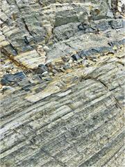 荔枝莊層層疊疊的岩石(圖)及稱為沉凝灰岩的火山沉積岩,紋理清晰,是火山灰加上沙和泥,經年累月慢慢形成堅硬的岩石。(圖:鄭惠霞)