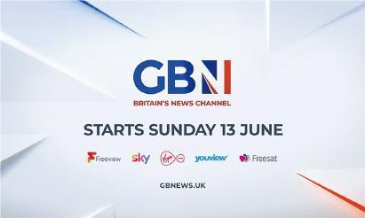 英國新聞頻道GB News昨晚啟播,該台節目以個人意見為主導,外界憂慮有偏激之嫌。圖為GB News標誌及「開台」廣告。(網上圖片)