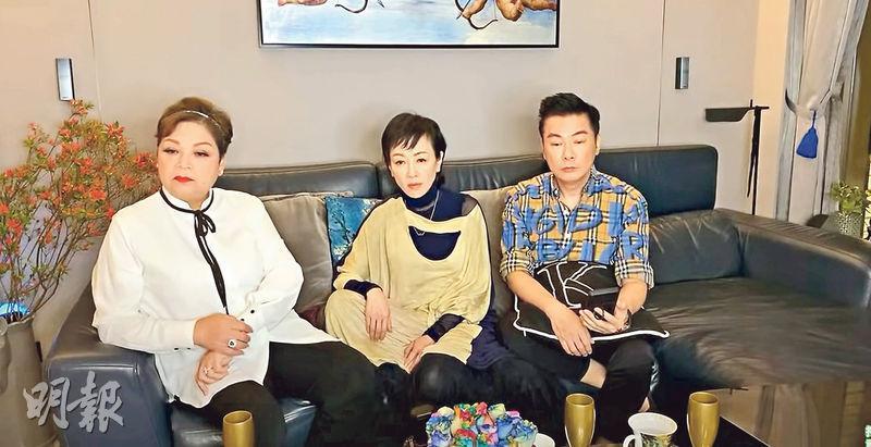 袁潔瑩(中)亮相肥媽(左)的網上節目大談近况。(視頻截圖)